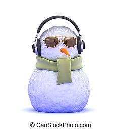 snowman, llevando, auriculares, 3d