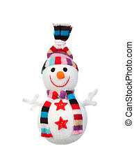 Snowman made of wool isolated on a white background