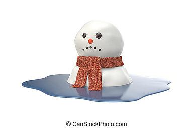Snowman melting on white background