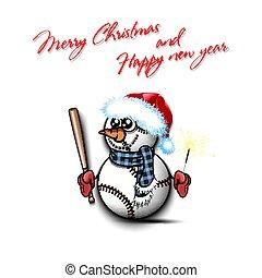 snowman, murciélago, pelotas, beisball, sparklers