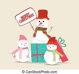 snowman, navidad de la familia, tarjeta
