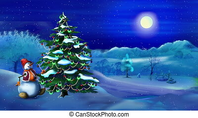 Snowman near a Christmas Tree in a Magic Night