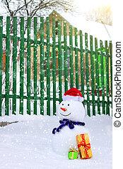 Snowman near house