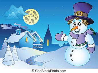 Snowman near small village