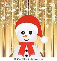 snowman on a gold background