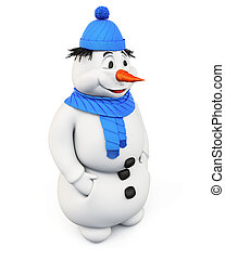 Snowman on a white background.3d.