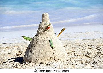 Snowman On Beach in caraibe of christmas