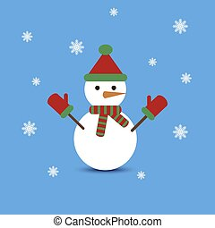 Snowman on blue background. Vector illustration