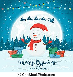 Snowman on Blue Winter Background with Gifts and Christmas Lights