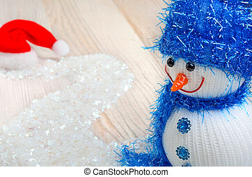 Snowman on Christmas background