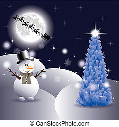 Snowman on Christmas night