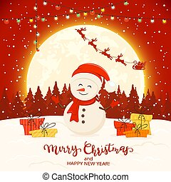 Snowman on Red Winter Background with Gifts and Christmas Lights