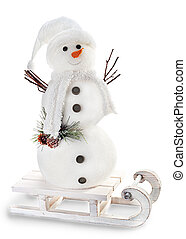 snowman on sled isolated on white background