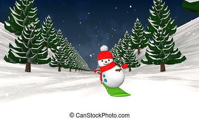 Snowman snowboarding. Loop animation.