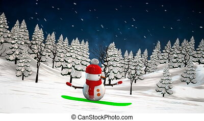 Snowman on snowboard - Snowman snowboarding. Loop animation.