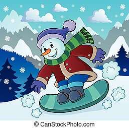 Snowman on snowboard theme