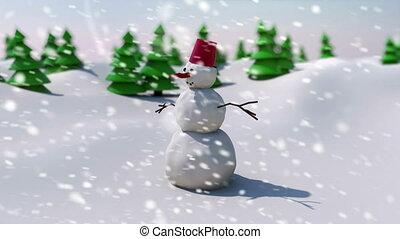 """"""" snowman on snowy field  background"""""""