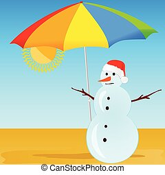 snowman on the beach vector illustration