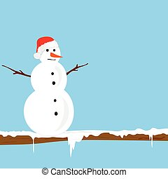 snowman on the branch color vector illlustration