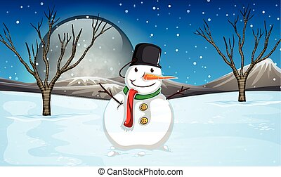 Snowman on the ground at night illustration