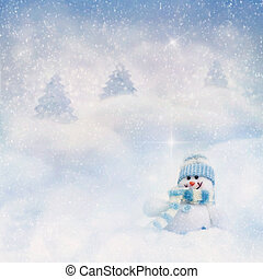 Snowman on the winter background