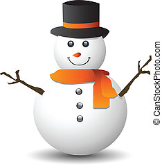 Snowman on white - Snowman isolated on white background