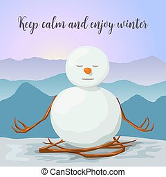 Snowman peaceful and relaxed. yoga lotus posture. Sunrise in the mountains. Cross Legged. Can use for greeting cards, merry christmas and new year invitations, posters, winter decoration, close eyed.