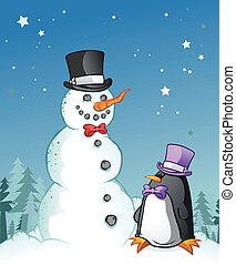 Snowman Penguin Cartoon Characters