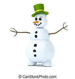 snowman - An image of a snowman with a green hat