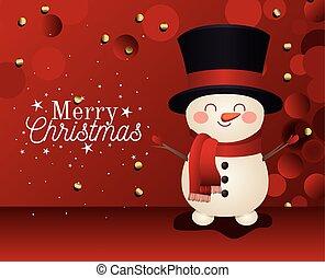 snowman, plano de fondo, alegre, icono, sombrero, letras, cima, rojo, navidad