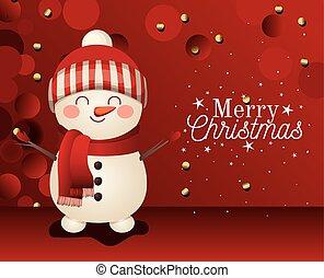 snowman, plano de fondo, alegre, letras, icono, rojo, navidad