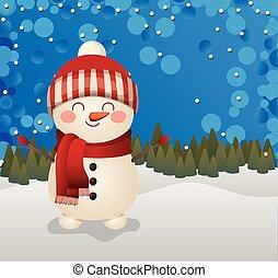 snowman, plano de fondo, bosque, icono, navidad