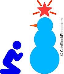 snowman, plano, santo, rogar, ilustración, vector, icono