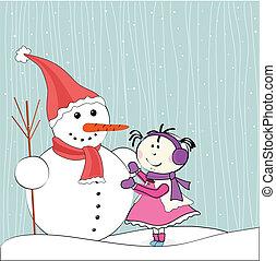 snowman, poco, invierno, niña