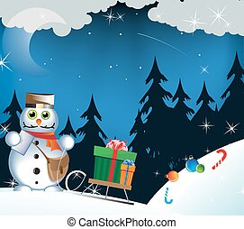 Snowman postman with Christmas gifts