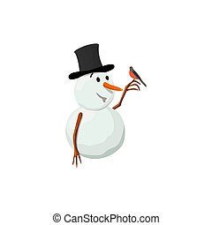 Snowman. Precious frosty, gracious , friendly, squint, bird...