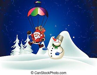 Snowman presents Santa Claus