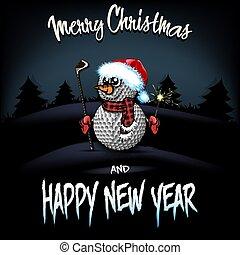 snowman, putter, pelotas, golf, sparklers