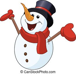 Snowman raising arms - Happy snowman looking up and raising...