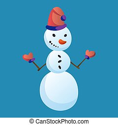 Snowman raising hands with top hat isolated on white background. Winter theme. Vector character illustration