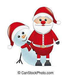 snowman red nose look santa claus