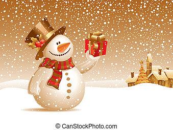 snowman, regalo, -, ilustración, vector, sonriente, navidad, paisaje