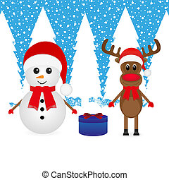 snowman, reindeer