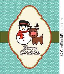 snowman reindeer merry christmas design