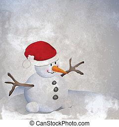 Snowman retro - Winter retro background with snowman