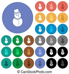 Snowman round flat multi colored icons