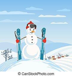 Snowman rural skier