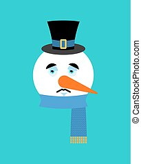 Snowman sad emotion avatar. Snowman sorrowful emoji face. New Year and Christmas vector illustration