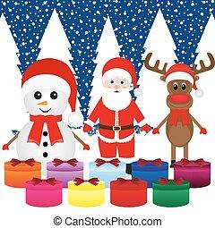 Snowman, Santa Claus, reindeer