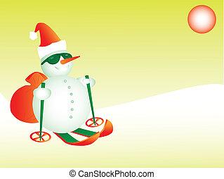 Snowman Santa skiing, eps8